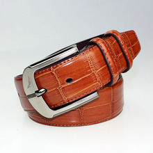 2015 HOT genuine leather newly mens wide leather belt  red color pin buckle brand mens belt free shipping