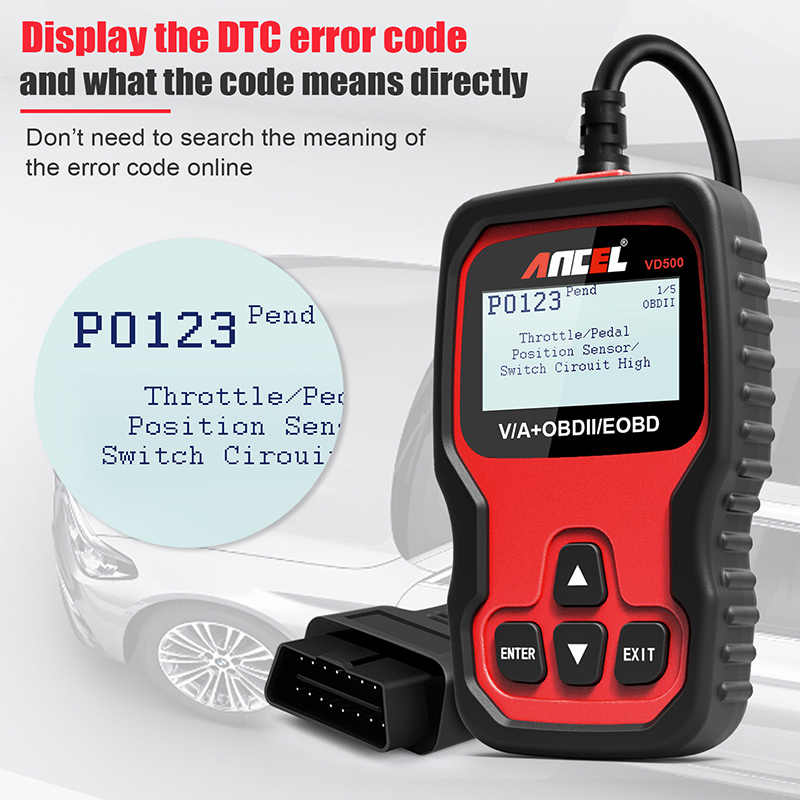 Ancel VD500 OBD2 Professional Diagnostic Scanner ECU Code Reader ABS SAS  SRS Brake Oil Reset TP Position Tools for Auto Service