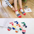 Candy colored stripe female cotton socks Fashion girl socks 5 pair free shipping