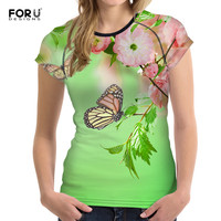 FORUDESIGNS T Shirts Women Tops Tees 3D Butterfly Printed T Shirt Women S Summer Novelty Girls
