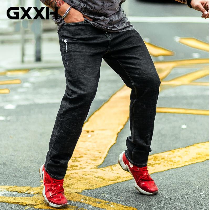 GxxH Autumn New elastic Straight Large size Waist Mens jeans Loose Fashion Black jeans Casual Long pants Size 36-40 42 44 46 48