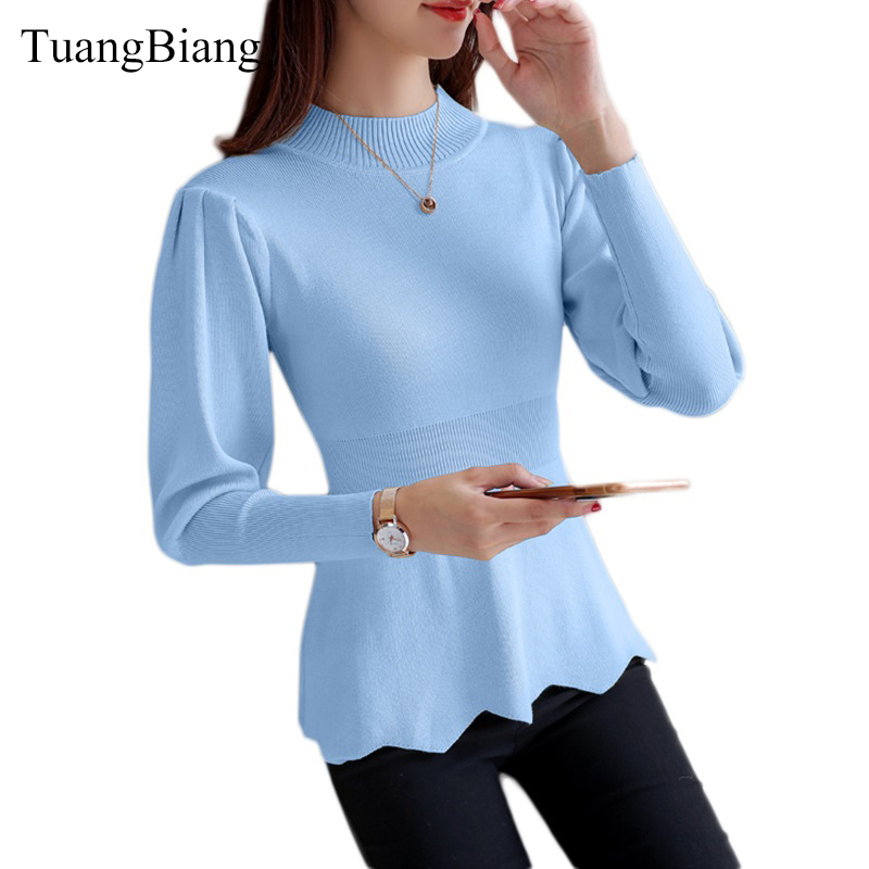 2018 New Winter Long Sleeve Pullovers Sweater Slim Women's Half-High Collar Fluffy Sleeves Sweaters Blouse Ladies Blue jumpers