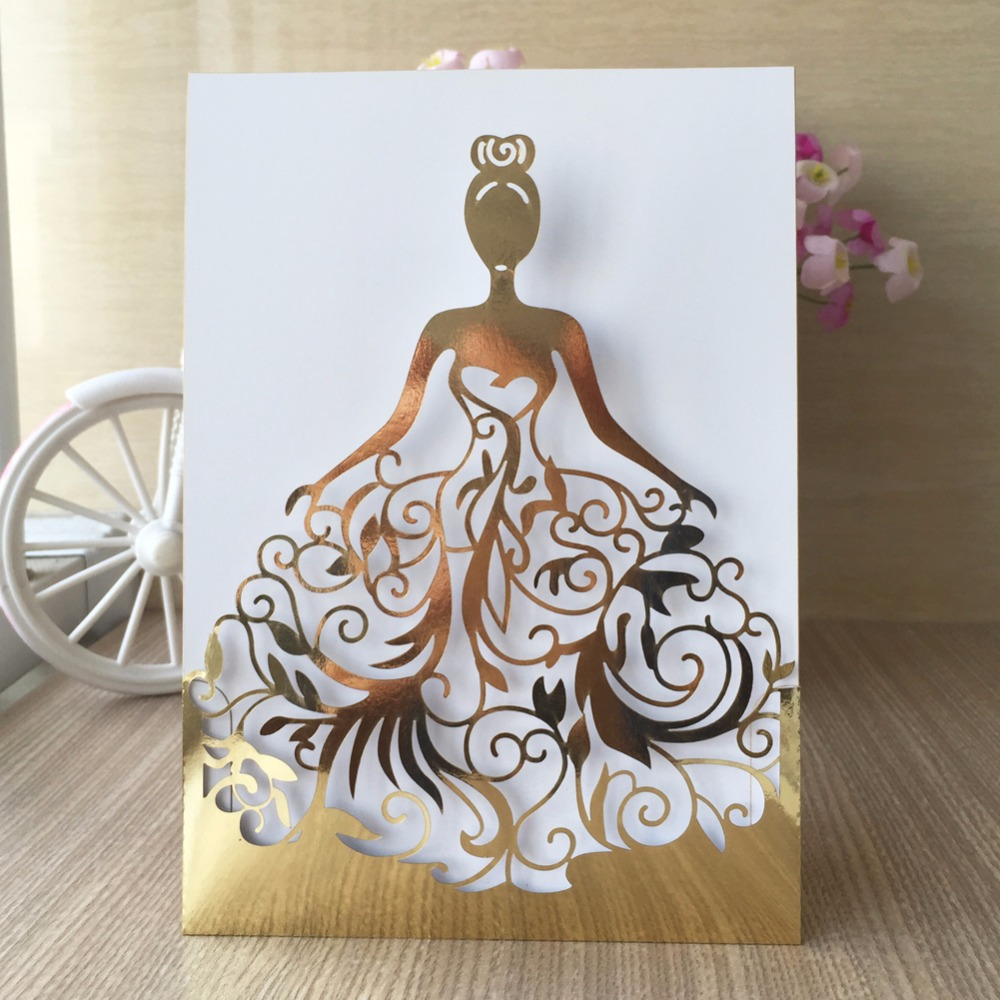 100pcs lot Shinny Gold Blue Wedding Invited Cards Celebrating Congratulation card Adult Ceremony Invitation Cards QJ