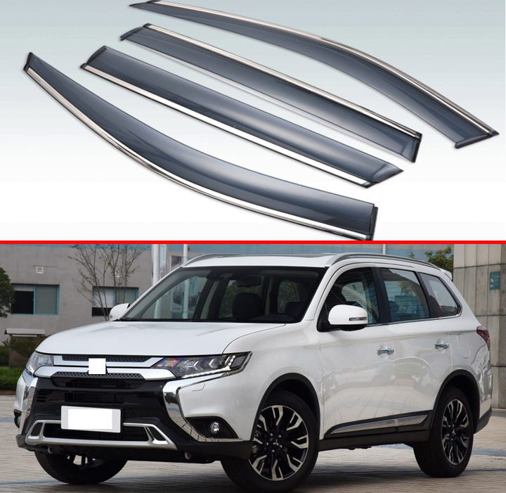 For Mitsubishi Outlander 2013-2019 Plastic Exterior Visor Vent Shades Window Sun Rain Guard Deflector 4pcs