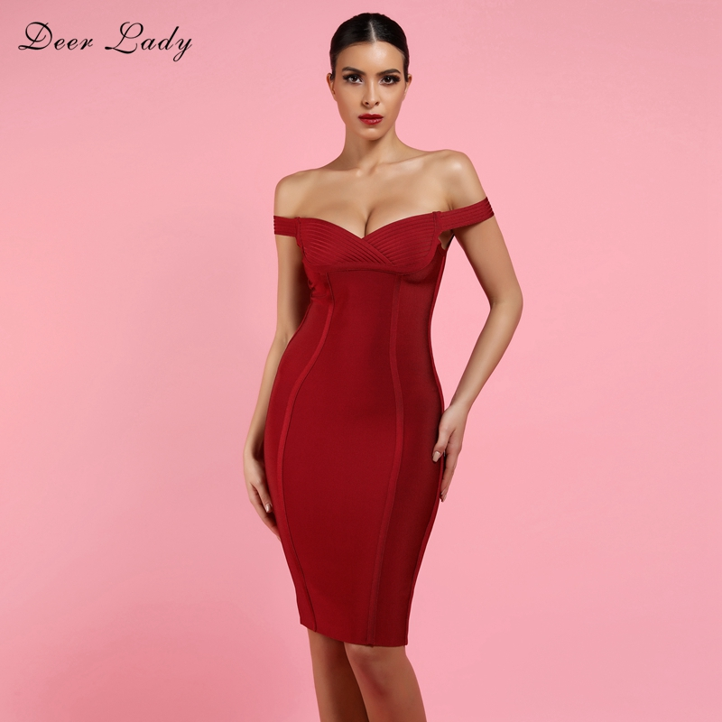 Deer Lady Bandage Club Dress 2018 New Year Wine Red Bandage Dress Rayon  Night Sexy Bodycon 10336607bf04