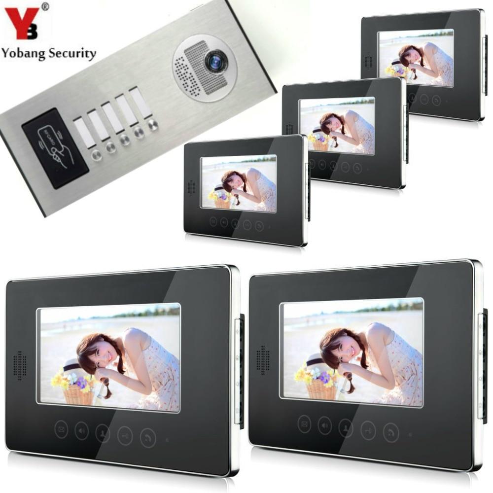 YobangSecurity Video Door Intercom System 7 Inch Video Door Phone Doorbell Response RFID Access Control 1 Camera 5 Monitor.