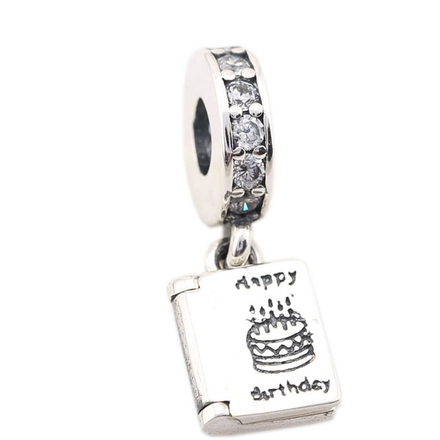 925 Sterling Silver Charm Charms Happy Birthday Cake Candles Book