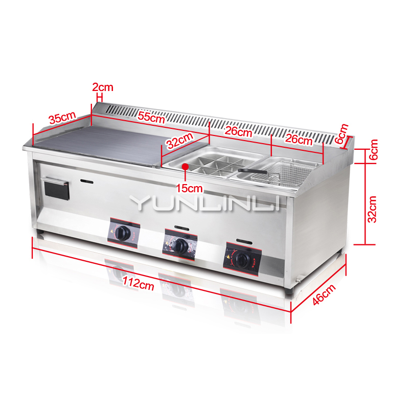 Commercial Gas Griddle Coal Gas/Liquefied Gas Teppanyaki Equipment Commercial Multifunctional Frying Machine