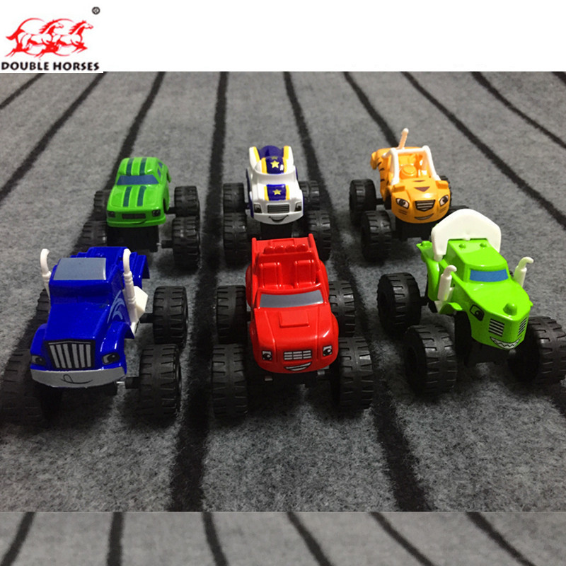 6PCS Toy racing car Blaze Monster Diecast Toy Racer Cars Trucks Action Figure Box-pack for Kid Gift