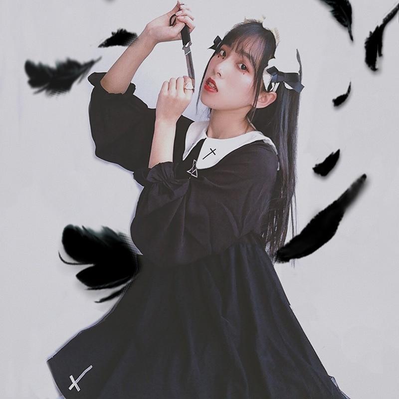 2018 japanska mekana sestra preppy stil harajuku tamna djevojka crna - Ženska odjeća - Foto 3