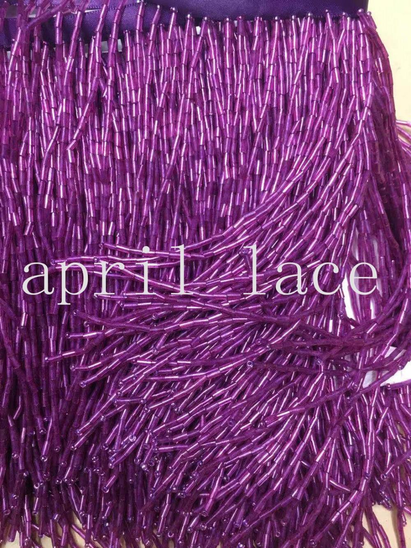 5yards cc005 # 14 15cm width purple beads fringe satin ribbon tassel for garment/decorative/home /wedding bridal gown dress