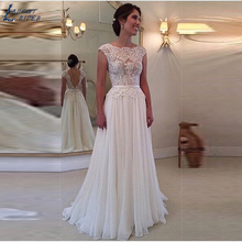 LAYOUT NICEB Backless Cap Sleeves Wedding Dress A-line