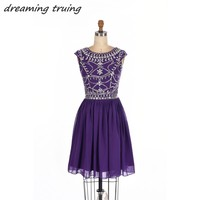 Real Photos Purple 8th Grade Graduation Dresses 2018 With Cap Sleeves Chiffon Beads Vestido De Festa Party Homecoming Prom Gowns