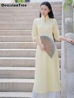 2019 summer aodai cheongsam dress traditional oriental clothing ao dai dresses short lace dress for women vietnam qipao dress