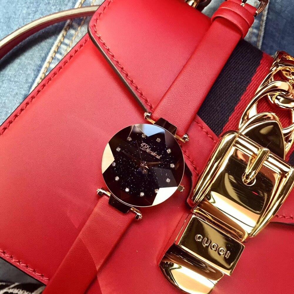 Nouvelle mode bonbons couleurs femmes bracelet en cuir véritable montres Quartz étanche cristaux Montre Multi facettes verre Montre Femme