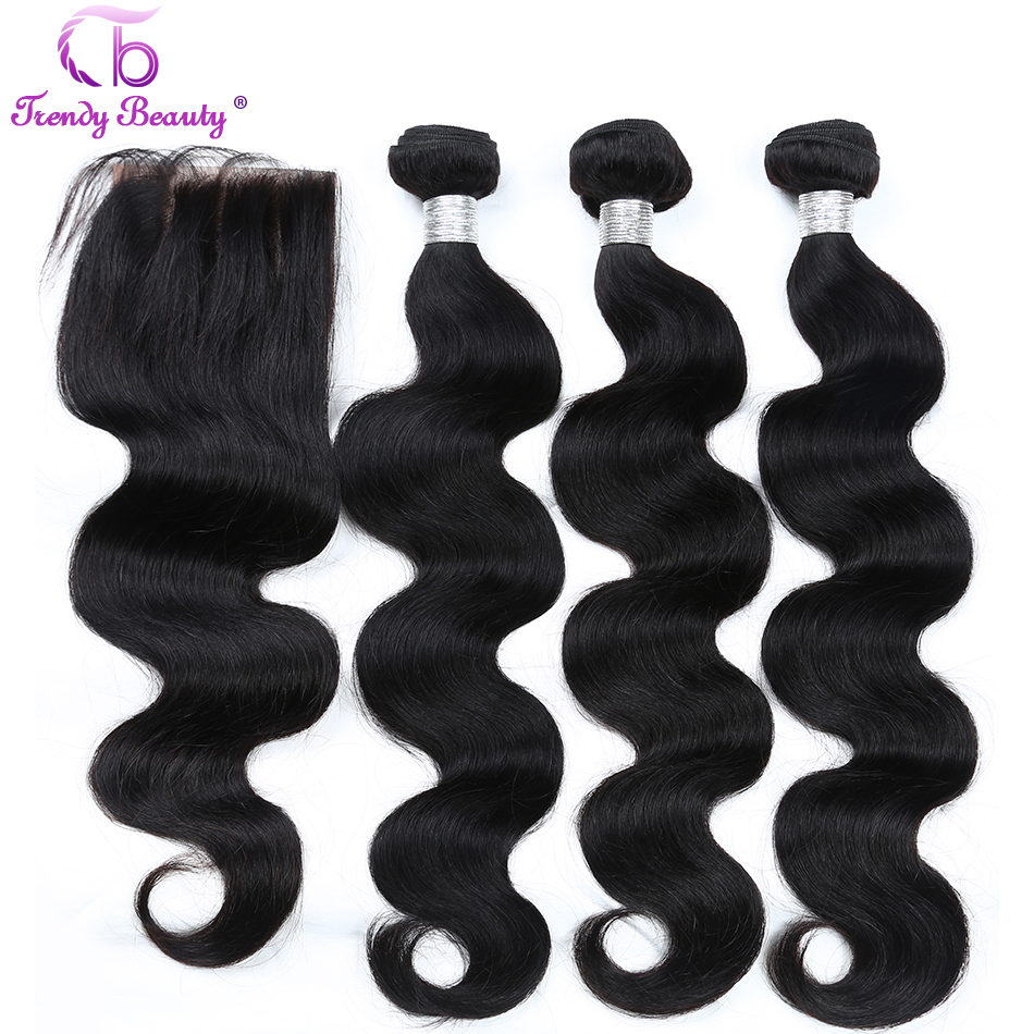 Peruvian Body Wave Hair 3 Bundles With Lace Closure 4x4 Inches Three/Middle/Free Part  8-26 Inches Trendy Beauty Non-remy