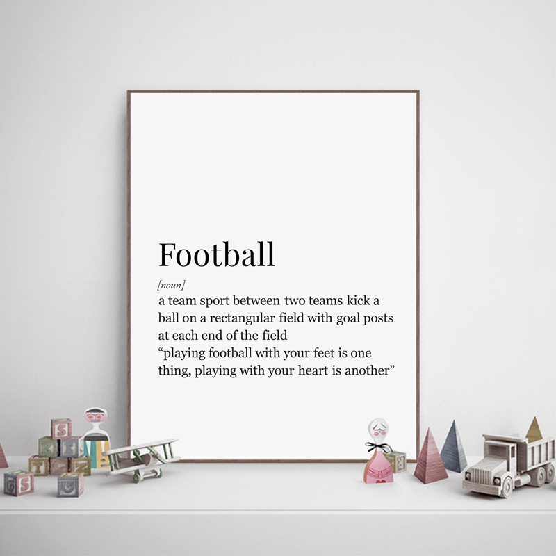 Soccer Football Definition Prints Canvas Painting Football Poster Boys Room Wall Art Decor