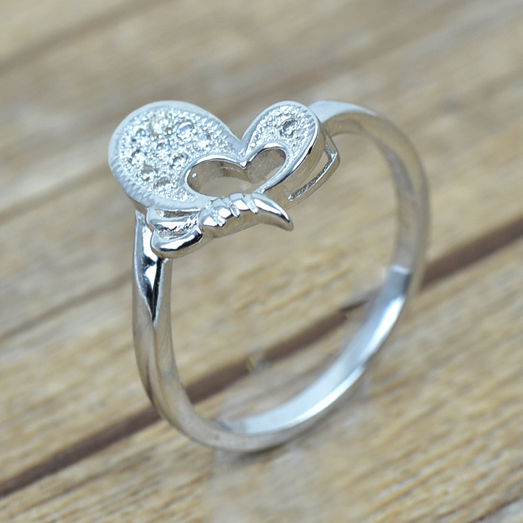 top cubic zirconia real sterling silver ring butterfly design women jewelry wedding engagement ring s925 - Clearance Wedding Rings