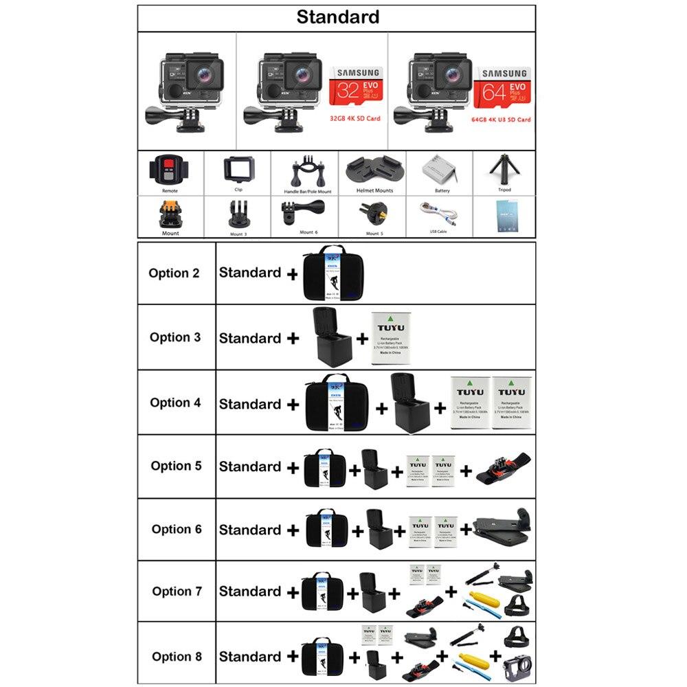 EKEN H5s Plus 4 k + Écran Tactile Caméra Ambarella A12 Chipset 4 k Stabilisation D'image WiFi Sony Capteur Capteur 2.0 pouce Écran Tactile - 6