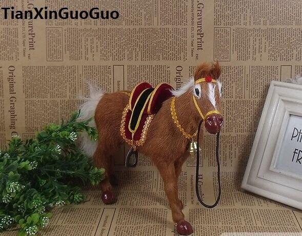 Simulation cheval brun modèle dur prop grand 26x20 cm en plastique et vraie fourrure cheval avec selle, décoration de la maison jouet cadeau s1771