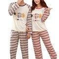 O envio gratuito de casais pijamas set leite de seda com mangas compridas mulheres do sexo masculino e do sexo feminino pijamas outono peixe bonito dos desenhos animados impresso M-XXL