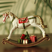America White Resin Rocking Horse with Gift Box for Children Christmas Gift Kid Room Decor Baby Birthday Gift DEC150