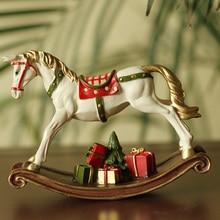 Amerika Witte Hars Hobbelpaard met Geschenkdoos voor Kinderen Kerstcadeau Kid Room Decor Baby Verjaardagscadeau DEC150