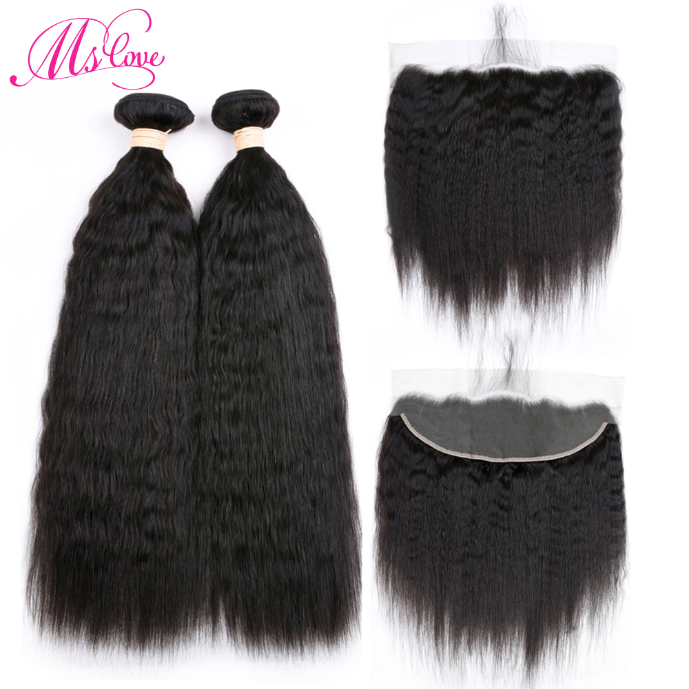 2 Bundles Brazilian kinky straight Human Hair With Lace Frontal Pre Plucked 13X 4 Lace C ...