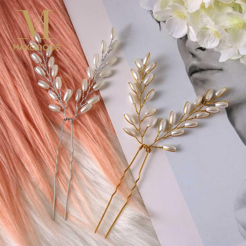 פנינת כלה סיכות חתונת נשים שיער אביזרי סיכת שיער כלה כיסוי ראש נזר כלה קליפים הכלה שיער תכשיטים