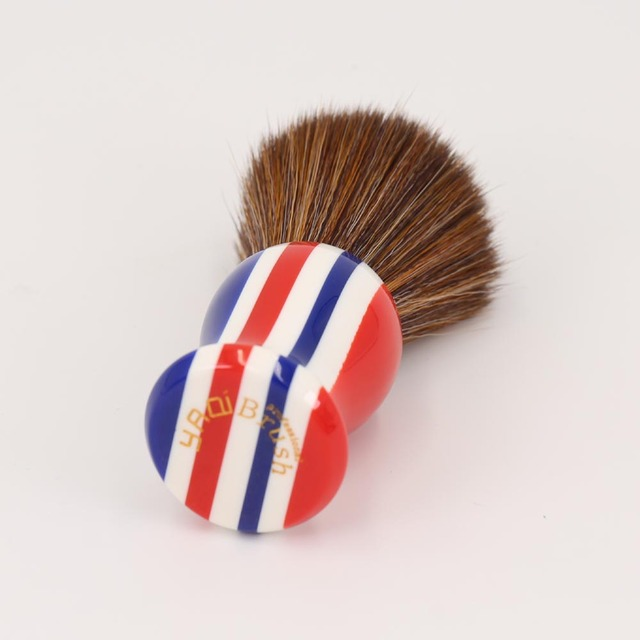 22mm Brown Synthetic Hair Knot Stripe Color Handle Shaving Brush for Men 1