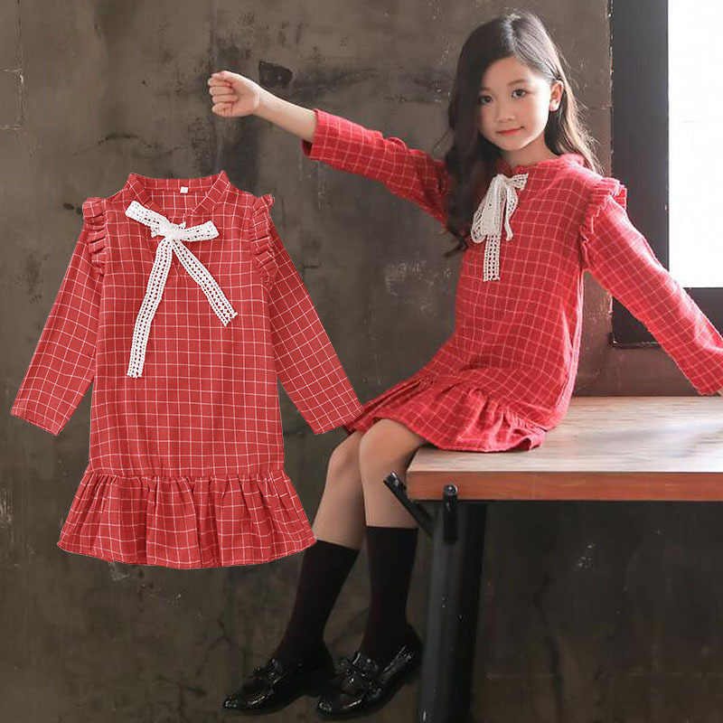 Little Girls Long Sleeve Dresses 2018 Fall New Cotton Grid Dress for Children Girls Princess Dress Kids Girls Clothes Black Red girls fall dress kids dresses for girls long sleeve children teen clothes autumn 2018 linen girl elegant princess dress vestidos