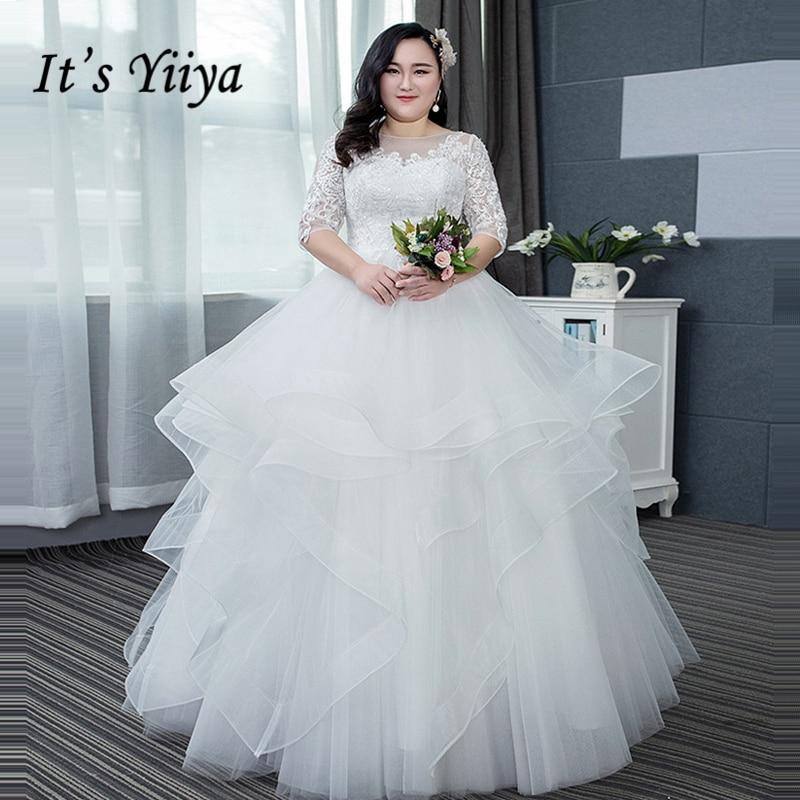 It's Yiiya Wedding Dress Plus Size O Neck Bling Sequined