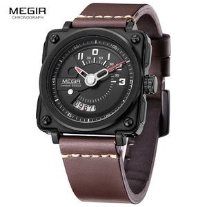 Image 5 - Megir Mens Square Analog Dial สายหนังสายนาฬิกาข้อมือควอตซ์กันน้ำนาฬิกาปฏิทินวันที่ 2040