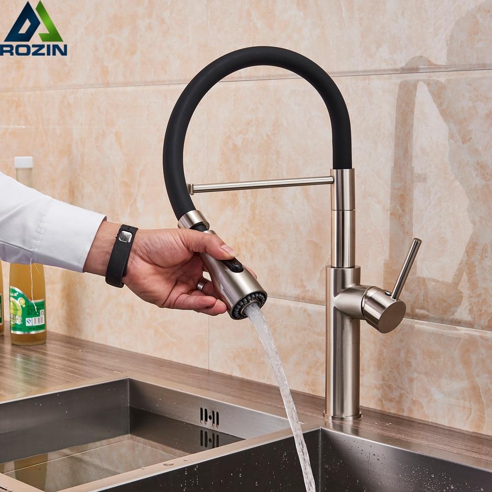 Kitchen Faucets Chrome Kitchen Sink Crane Deck Mount Pull Down Dual Sprayer Nozzle Torneira De Cozinha Mixer Water Taps