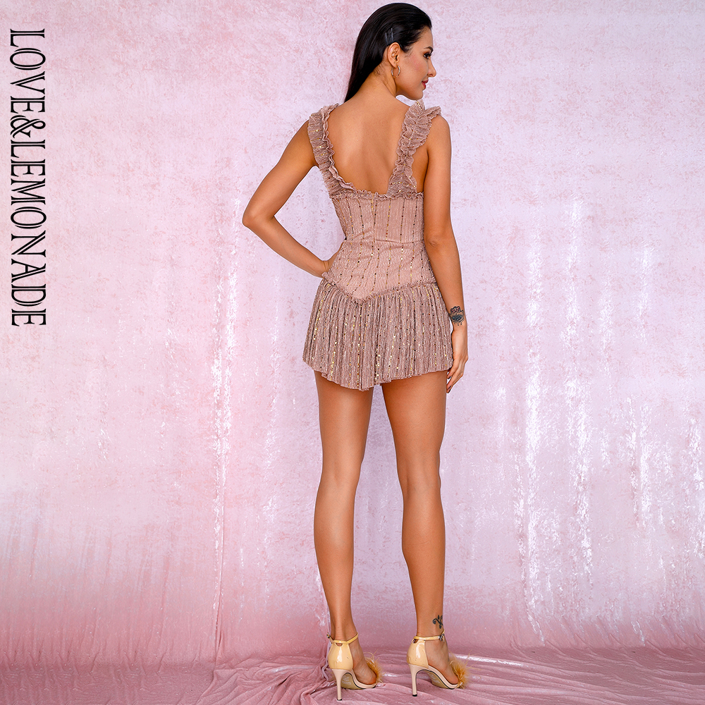LOVE&LEMONADE Nude Tube Top Sling Compound Sequin Material Slinky Ruffled Party Playsuit LM81256A