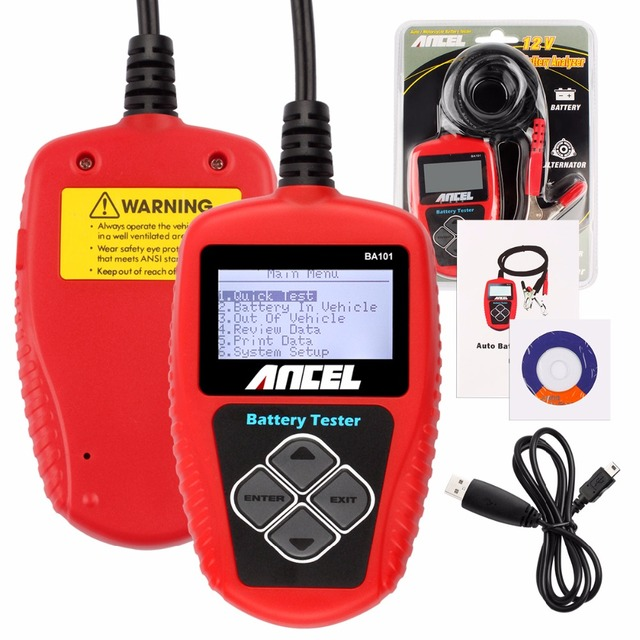 2016 Multi Languages 12V CCA Car Battery Tester Analyzer Ancel BA101 BST Automotive 12 Voltage Cranking Charging Free Shipping