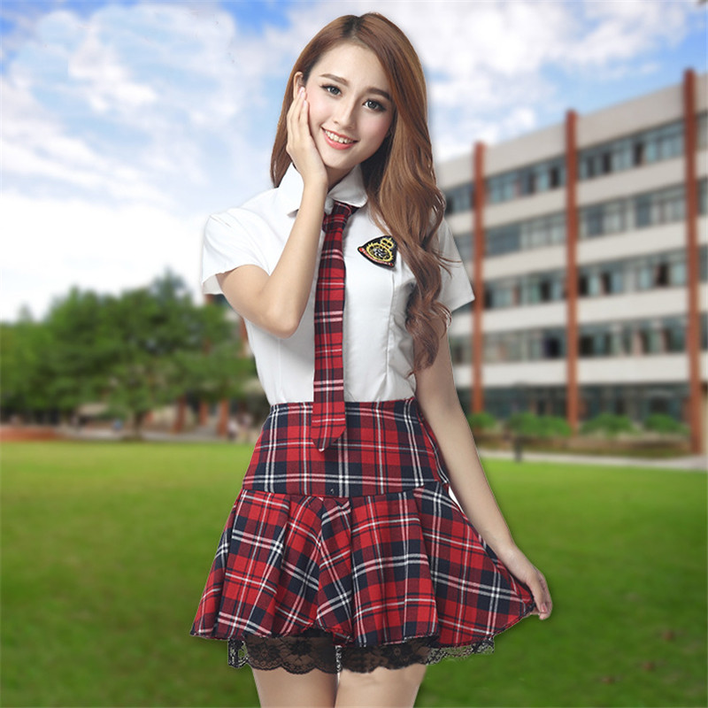 2018 New Korean Students Plaid Mini Skirts Tops Sets Preppy Style Japanese School Uniform Skirts For Girls Stage Performance Set