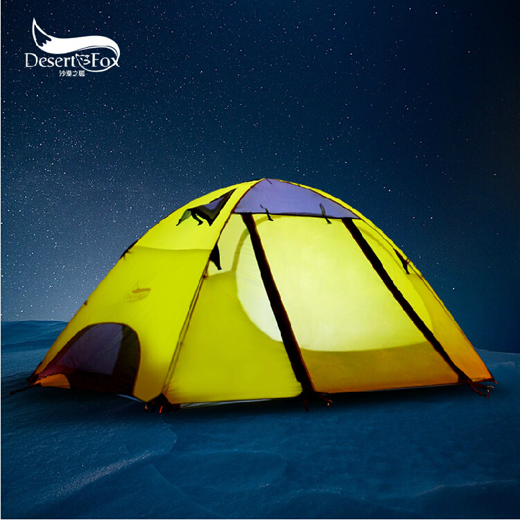 DesertFox 2017 New outdoor double double lovers tent professional anti camping tent double door aluminum pole camping tent outdoor camping hiking automatic camping tent 4person double layer family tent sun shelter gazebo beach tent awning tourist tent