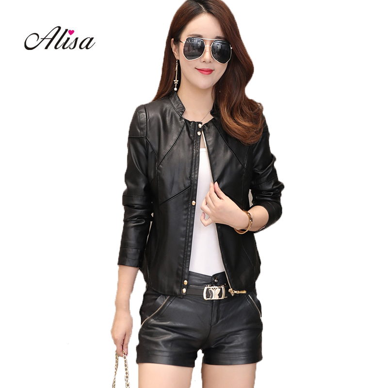 Ladies'   Leather   Jackets 2018 New Spring Autumn Long Sleeve O-neck Pathcwork Pu Moto Jacket Female Casual Black Zipper   Leather