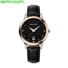 SANDA Gold Diamond Quartz Watch Women Ladies Famous Brand Luxury Golden Wrist Watch Female Clock Montre Femme Relogio Feminino