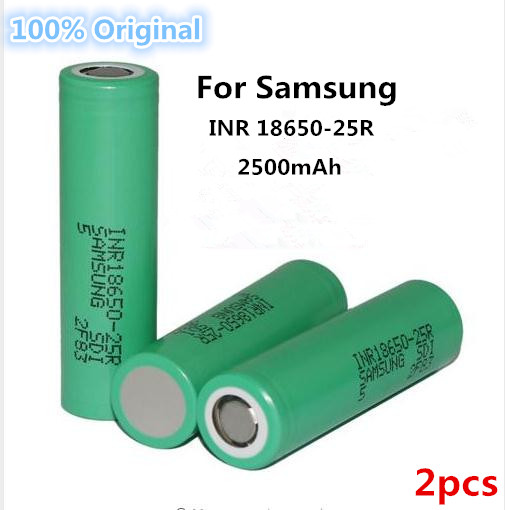 2PCS for Samsung Original 18650 battery INR18650 25R 20A discharge lithium batteries 2500mAh font b electronic
