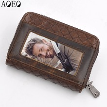 Business Credit Card id Holders Wallet cardholder Unisex Men Women porte carte Genuine Leather Door Card Cash Ticket Protector 2018 new fashion unisex credit card holders genuine leather multi pvc card slots metal hasp business card id holders cow leather