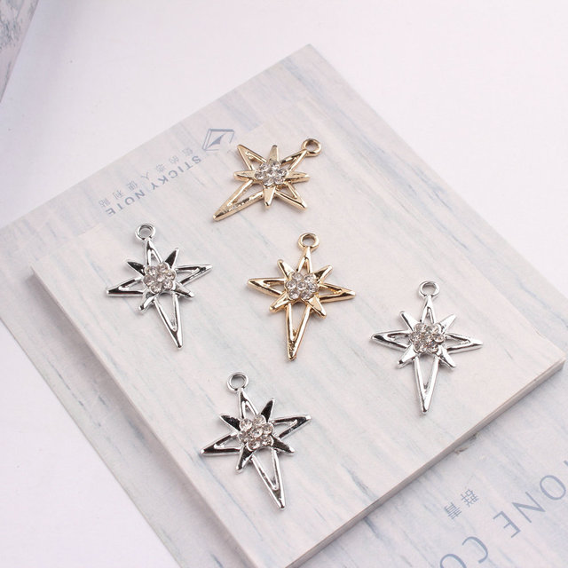 10PCS/Lot Metal Pendants Silver Gold Color Charms Crosses&Star Shape DIY Charm With Rhinestone Charms For DIY Jewelry Making