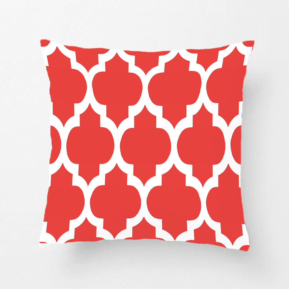 Coral Red White Moroccan Quatrefoil Pattern Throw Pillow Decorative