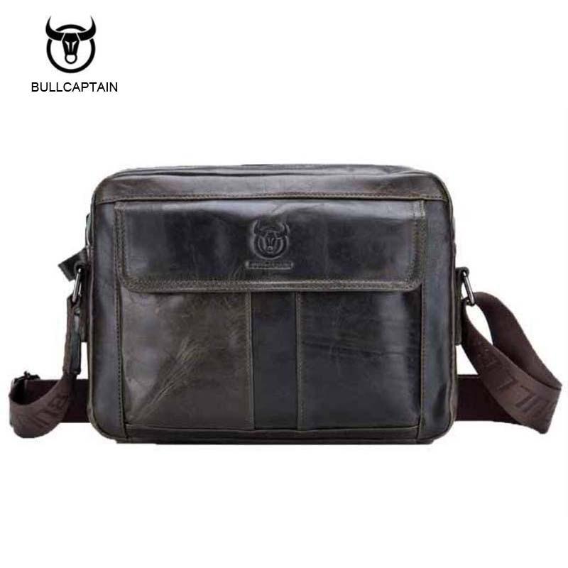 Bullcaptain 2017 New Arrival Genuine Leather Bags For Men Wax Leather Shoulder Bag Satchel Briefcase Portfolio Men's Bag bullcaptain new arrival 100