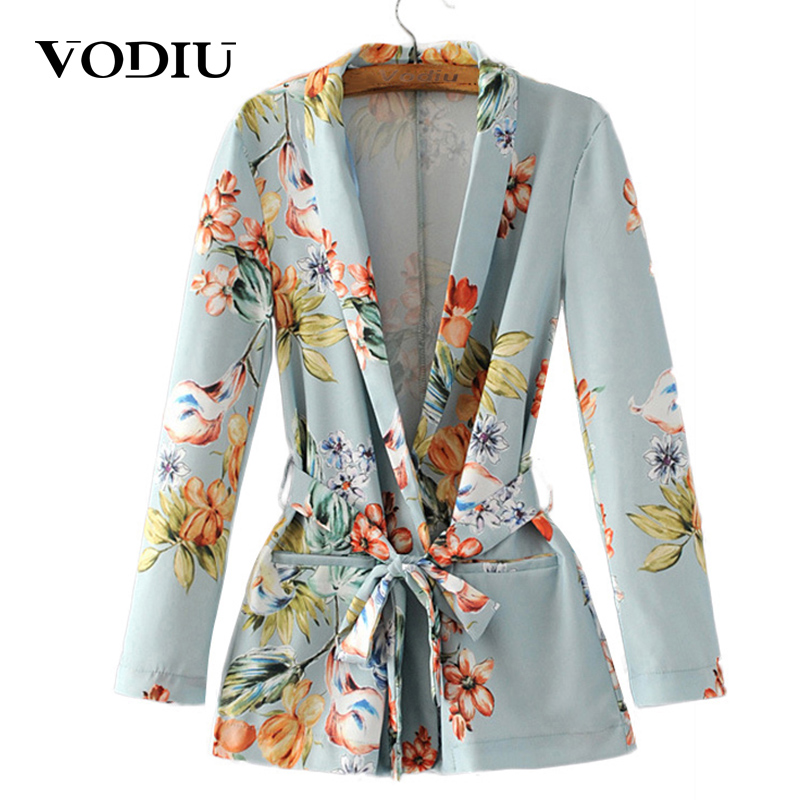 Autumn Women Floral Vintage Blazers 2020 Suit Ladies Notched Collar Outwear Female Jacket Casual Sashes Long Sleeves Pocket Coat