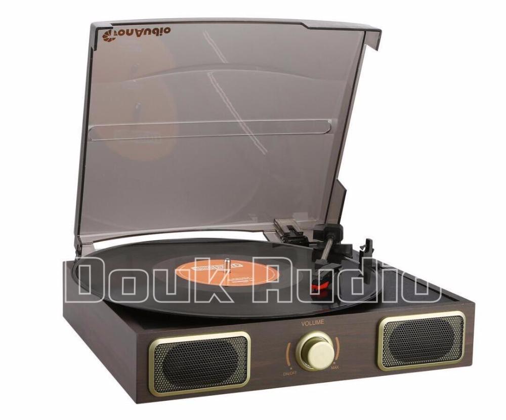 Prix pour Douk Audio Stéréo Platine LP Vinyle Tourne-disque Phono AUX Haut-parleurs Intégrés 220 V
