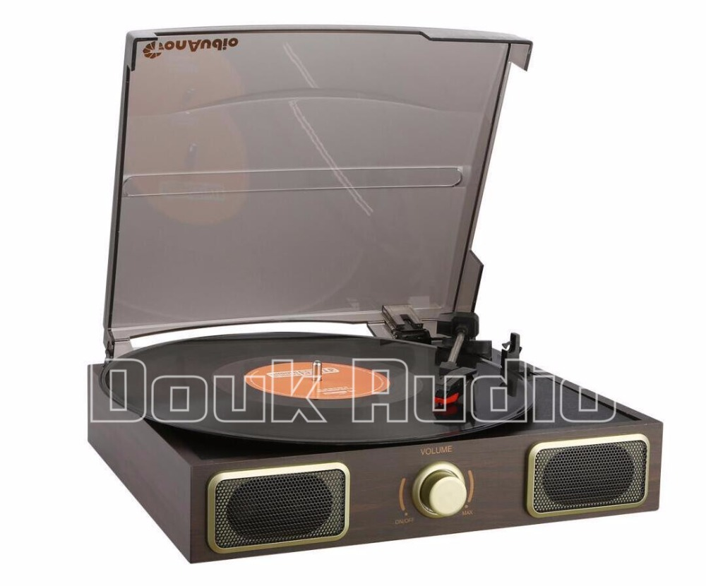 Douk Audio Stereo Turntable LP Vinyl Record Player Phono AUX Built-in Speakers 220V все цены