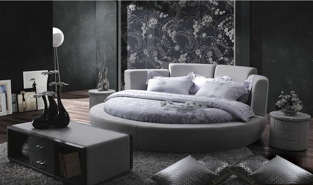 Contemporáneo moderno tela de terciopelo ronda gris cama dormitorio muebles Hechos en China
