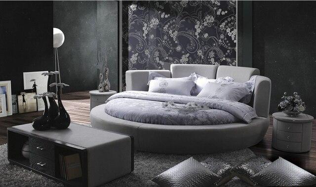 Contemporáneo moderno tela de terciopelo ronda gris cama dormitorio ...